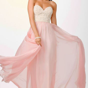 Sweetheart Pink Pearls Prom Dresses