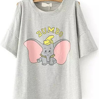 JUMBO Animal Printed Grey Off The Shoulder Shirt