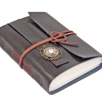 Dark Brown Vegan Faux Leather Journal with Cameo Bookmark - Ready To Ship -