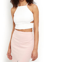 Cream Cut Out Side Crop Top