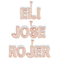 Initials Snow Letters A-Z 925 Silver Rose Gold Tone Charm Free Chain