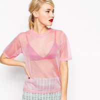 Pink Short Sleeve Mesh T-shirt