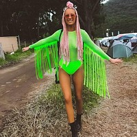Neon Green Fishnet Grid Tassel Bodysuits Women Long Sleeve See Through Jumpsuit Party Clubwear Rave Festival Clothing Playsuit