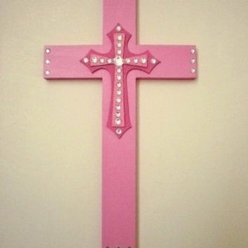 "PINK & BLING CROSS - Decorative Wall Cross Handpainted in Shades of Pink w/ Clear Rhinestones - 12"" x 7"""
