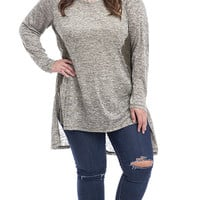 Plus Size Lace Paneled Long Sleeve Marled Knit Tunic