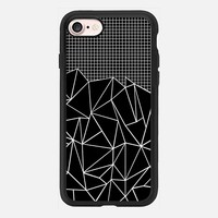Abstract Grid Outline White on Black iPhone 7 Case by Project M | Casetify