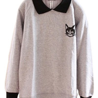 Black Cat Print Graphic Sweatshirt