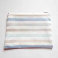 Zipped Lined Pouch Blue, Beige & Grey Ombre Stripes - Make up Cosmetics Bag - Bag Organiser - Cosmetics Case -Pochette - Mother's Day Gift