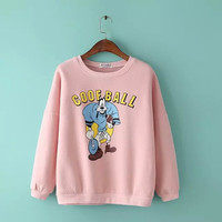 Letter And Cartoon Print Sweater