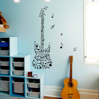 Wall Decal Notes Guitar Treble Music Musical Instrument Design Wall Decals Rehearsal Room Bedroom Garage Window Stickers Home Decor 3953