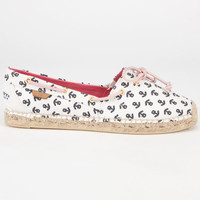 Sperry Top-Sider Katama Womens Espadrilles Ivory/Navy Anchors  In Sizes