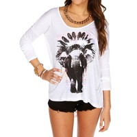 WhiteMulti-Color Elephant Chief Long Sleeve Top