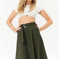 Belted Button-Front Skirt
