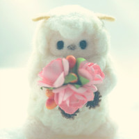Handmade lamb doll, needle felt sheep doll with rose bouquet, Latte the sheep pocket doll, Valentine's day gift under 25