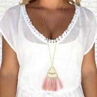 Go Along Tassel & Bead Necklace in Pink