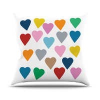"""Project M """"Colorful Hearts"""" Throw Pillow"""