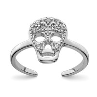 Sterling Silver Cz Skull Toe Ring