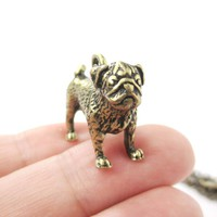 Realistic Life Like Pug Shaped Animal Pendant Necklace in Brass | Jewelry for Dog Lovers
