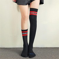 Women Winter Trend Fashion All-match Multicolor Letter Cotton Semi-High Socks