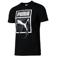 PUMA Tide brand sports and leisure round neck breathable shirt short-sleeved T-shirt black