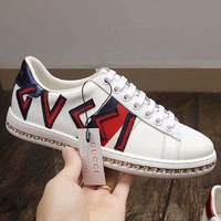 GUCCI New fashion red green white stripe letter embroidery diamond shoes White