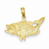 14k Gold Open Mouthed Bass Fish Pendant