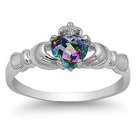 Sterling Silver Claddagh Rainbow Mystic Topaz CZ Ring