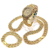 DIAMOND WATCH, ICED OUT CUBAN CHAIN, and BRACELET SET