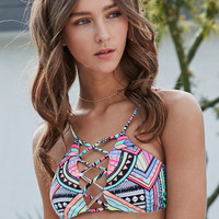 LA Hearts Tribal Print Lace-Up Bralette Bikini Top at PacSun.com