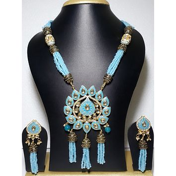 Triple tassel hanging unique glass crystal bead long chain necklace and Earrings set