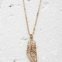 Etched Leaf Charm Necklace