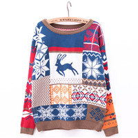 Snow Flake and Deer Knit Sweater