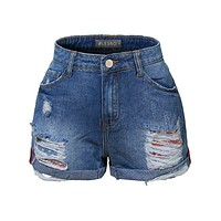 Casual Distressed Ripped Mid Rise Denim Shorts with Rolled Cuff