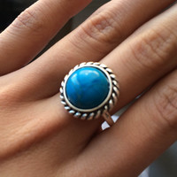 Round Turquoise Antique Silver Ring