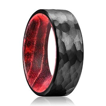 IAN Black Hammered Ring with Black and Red Box Elder Inside Wood Ring