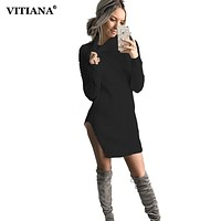 2017 Autumn Women Black Knitted Dress Long Sleeve High Neck Split Sexy Sweater Mini Party Dresses Winter Female Bodycon Clothing