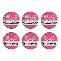 Summer Hello My Name Is Plastic Resin Button Set of 6