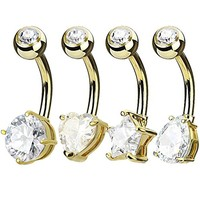 BodyJ4You 4PCS Jeweled Big Crystal Belly Button Ring Set 14G Goldtone Surgical Steel Curved Navel Barbell