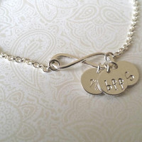 Infinity Best Friends Bracelet in Sterling Silver with two Initials--Gift for Best Friend, BFF