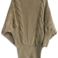 Batwing Sleeve Cable Knit  Mini Sweater Dress