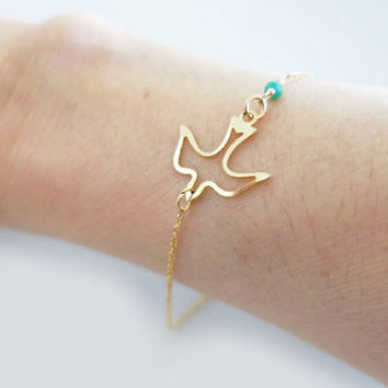 Bracelet with Bird Charm, Gold Bracelet with Stones, Inexpensive Delicate Jewelry
