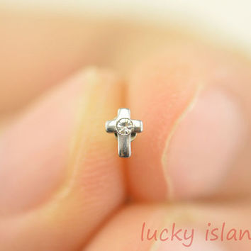 cross nose ring,316L Surgical Steel Nose Rings,little cross nose ring stud,friendship gift