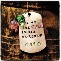 Women's Pink in his Camo Necklace, hunting, pink in his world, dog tag, jewelry for women, pink in his world of camo, country girl