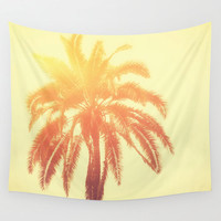 Golden Palm - Wall Tapestry, Yellow Ombre Palm Tree Art, Boho Chic Beach Surf Coastal Interior Decor Hanging. 51x60 / 68x80 / 88x104 Inches