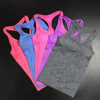 2016 Nylon/spandex Women Active Summer Tank top Double Layers Padded Bra Quick Dry Ladies Camis Fitness Tanks Workout Vest 1014