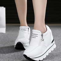 2016 autumn Wedges High Heels thick soled Ladies Casual Single Shoes autumn Women Inclined zipper platform shoes chaussure femme