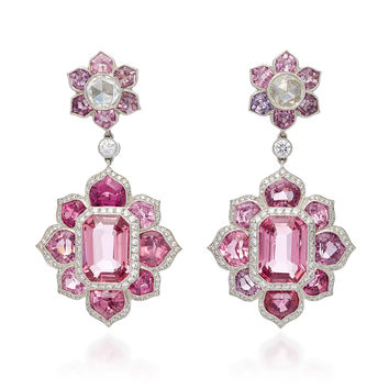 Lotus Platinum, Spinel and Diamond Earrings | Moda Operandi