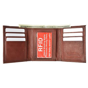 New Mens Trifold Leather Wallet RFID Blocking RFID 55 (C)