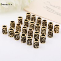 Dawapara 1pc Antique Gold Color Viking Runes Beard Diy Beads Hair Jewelry Czech Bead F