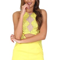 Yellow Lacey Romper at Blush Boutique Miami - ShopBlush.com